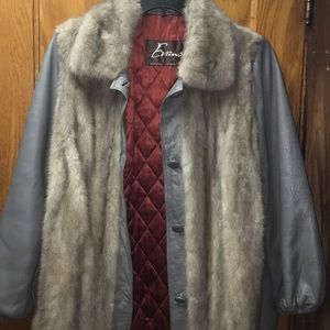 Evans Gray Leather and Fur Jacket